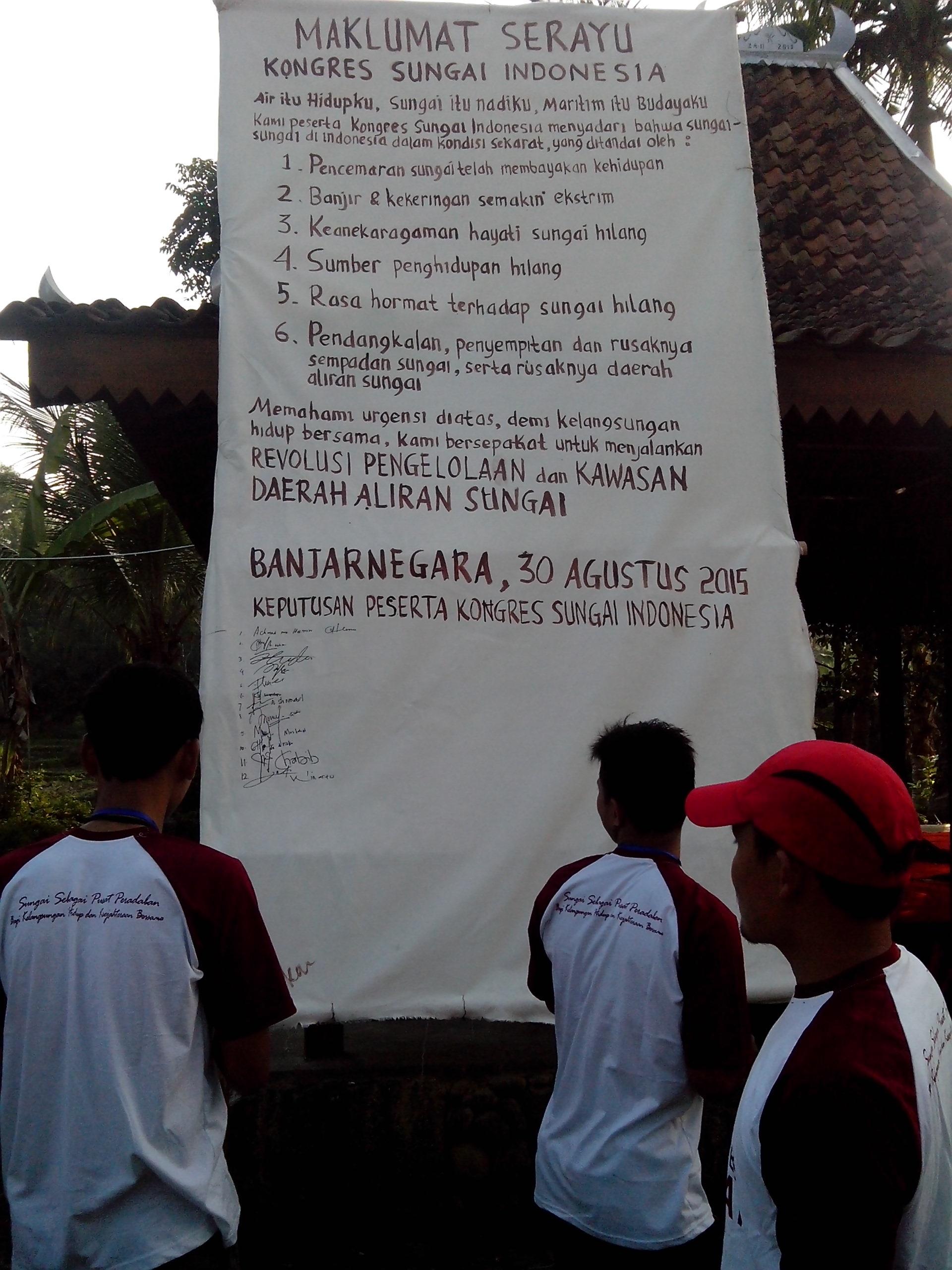 Kongres Sungai Indonesia Lahirkan Maklumat Serayu